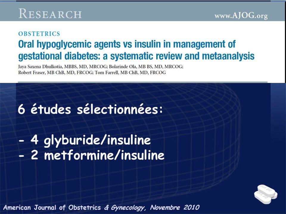 American Journal of Obstetrics & Gynecology, Novembre 2010 6 études sélectionnées: - 4 glyburide/insuline - 2 metformine/insuline