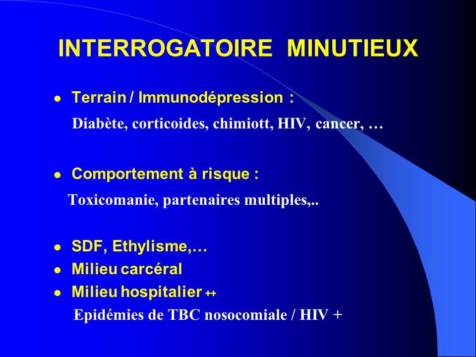 INTERROGATOIRE MINUTIEUX Terrain / Immunodépression : Diabète, corticoides, chimiott, HIV, cancer, … Comportement à risque : Toxicomanie, partenaires multiples,..