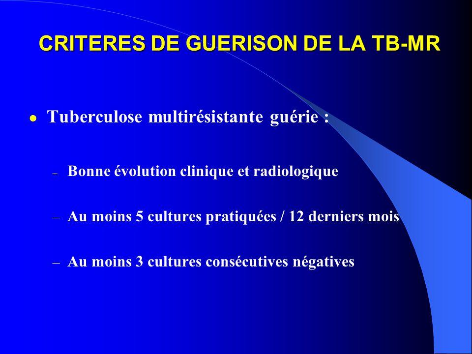 CRITERES DE GUERISON DE LA TB-MR Tuberculose multirésistante guérie : – Bonne évolution clinique et radiologique – Au moins 5 cultures pratiquées / 12 derniers mois – Au moins 3 cultures consécutives négatives