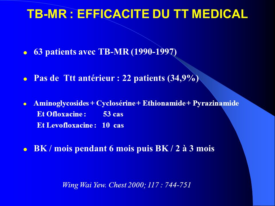 TB-MR : EFFICACITE DU TT MEDICAL 63 patients avec TB-MR (1990-1997) Pas de Ttt antérieur : 22 patients (34,9%) Aminoglycosides + Cyclosérine + Ethiona