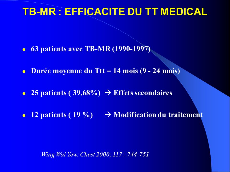 TB-MR : EFFICACITE DU TT MEDICAL 63 patients avec TB-MR (1990-1997) Durée moyenne du Ttt = 14 mois (9 - 24 mois) 25 patients ( 39,68%) Effets secondai