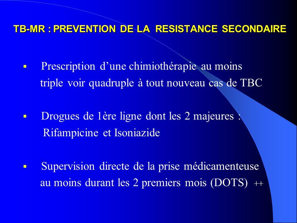 TB-MR : PREVENTION DE LA RESISTANCE SECONDAIRE Prescription dune chimiothérapie au moins triple voir quadruple à tout nouveau cas de TBC Drogues de 1ère ligne dont les 2 majeures : Rifampicine et Isoniazide Supervision directe de la prise médicamenteuse au moins durant les 2 premiers mois (DOTS) ++