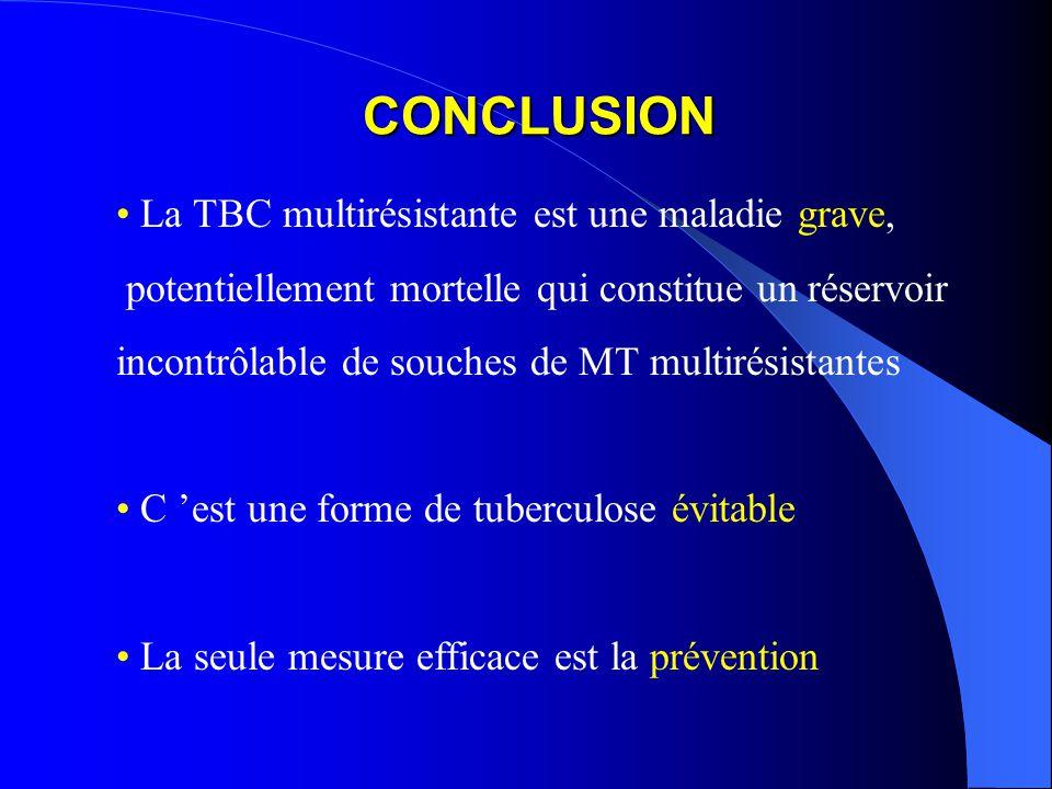 CONCLUSION La TBC multirésistante est une maladie grave, potentiellement mortelle qui constitue un réservoir incontrôlable de souches de MT multirésistantes C est une forme de tuberculose évitable La seule mesure efficace est la prévention