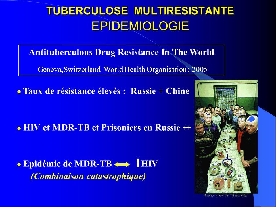 TUBERCULOSE MULTIRESISTANTE EPIDEMIOLOGIE Taux de résistance élevés : Russie + Chine HIV et MDR-TB et Prisoniers en Russie ++ Epidémie de MDR-TB HIV (Combinaison catastrophique) Antituberculous Drug Resistance In The World Geneva,Switzerland World Health Organisation ; 2005