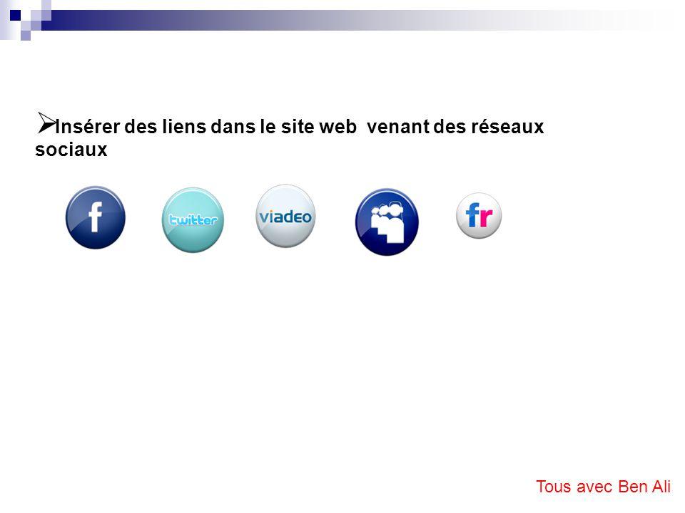 Insérer des liens dans le site web venant des réseaux sociaux Tous avec Ben Ali