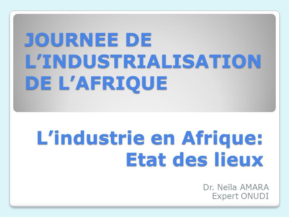 Lindustrie en Afrique: Etat des lieux Dr. Neïla AMARA Expert ONUDI JOURNEE DE LINDUSTRIALISATION DE LAFRIQUE