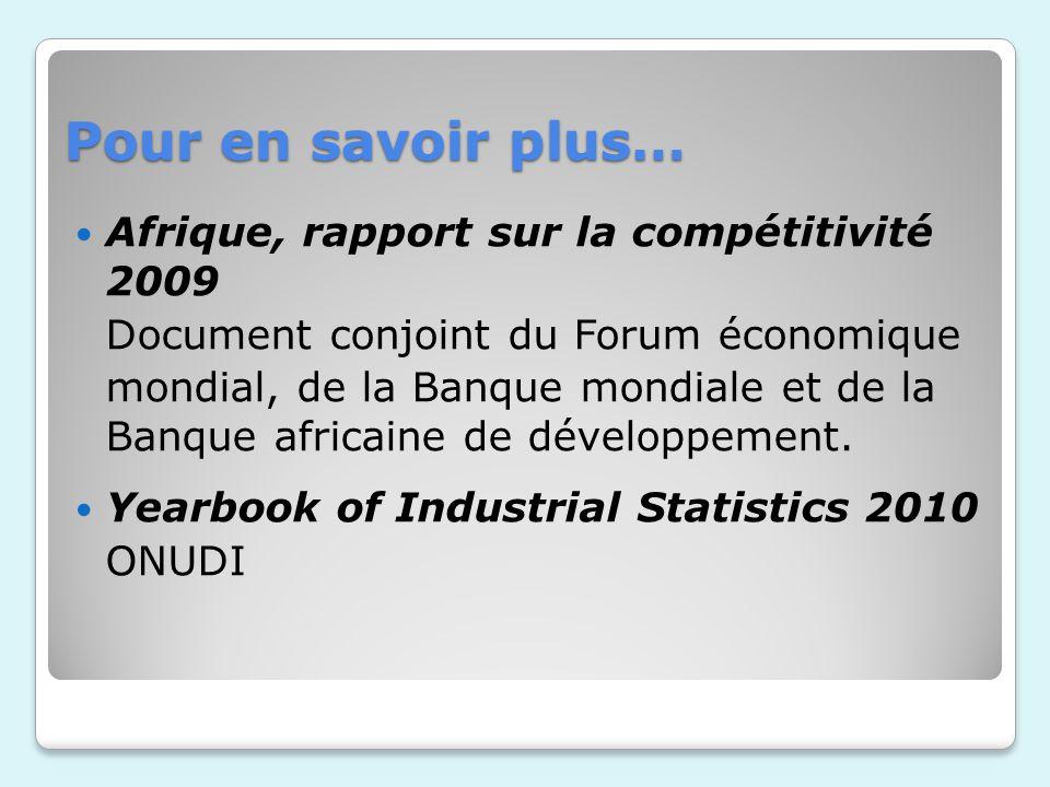 Pour en savoir plus… Afrique, rapport sur la compétitivité 2009 Document conjoint du Forum économique mondial, de la Banque mondiale et de la Banque a