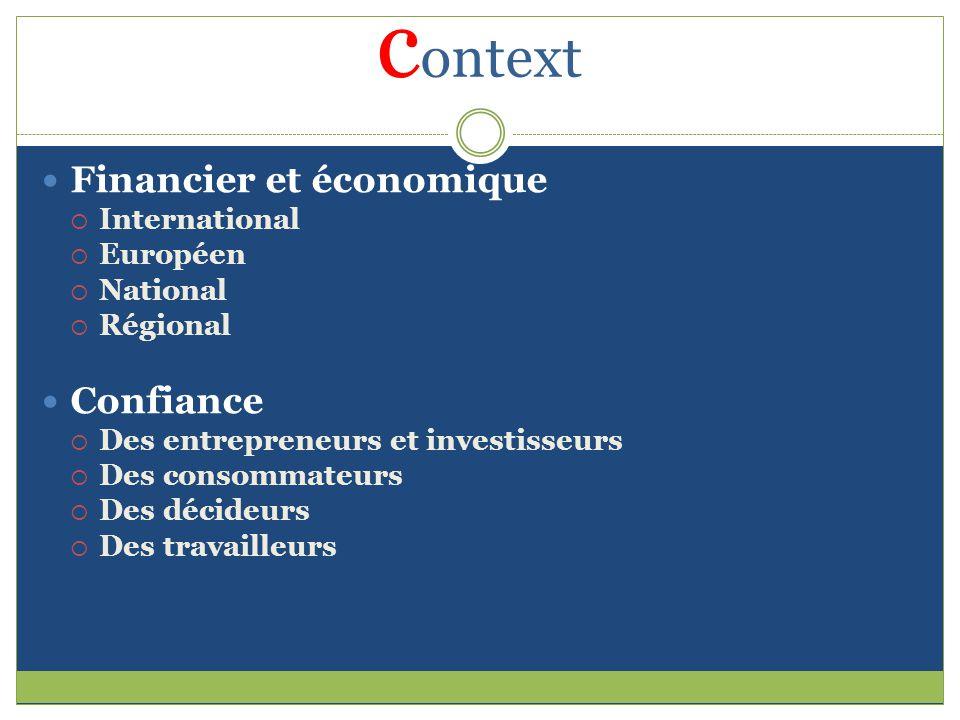c ontext Financier et économique International Européen National Régional Confiance Des entrepreneurs et investisseurs Des consommateurs Des décideurs Des travailleurs