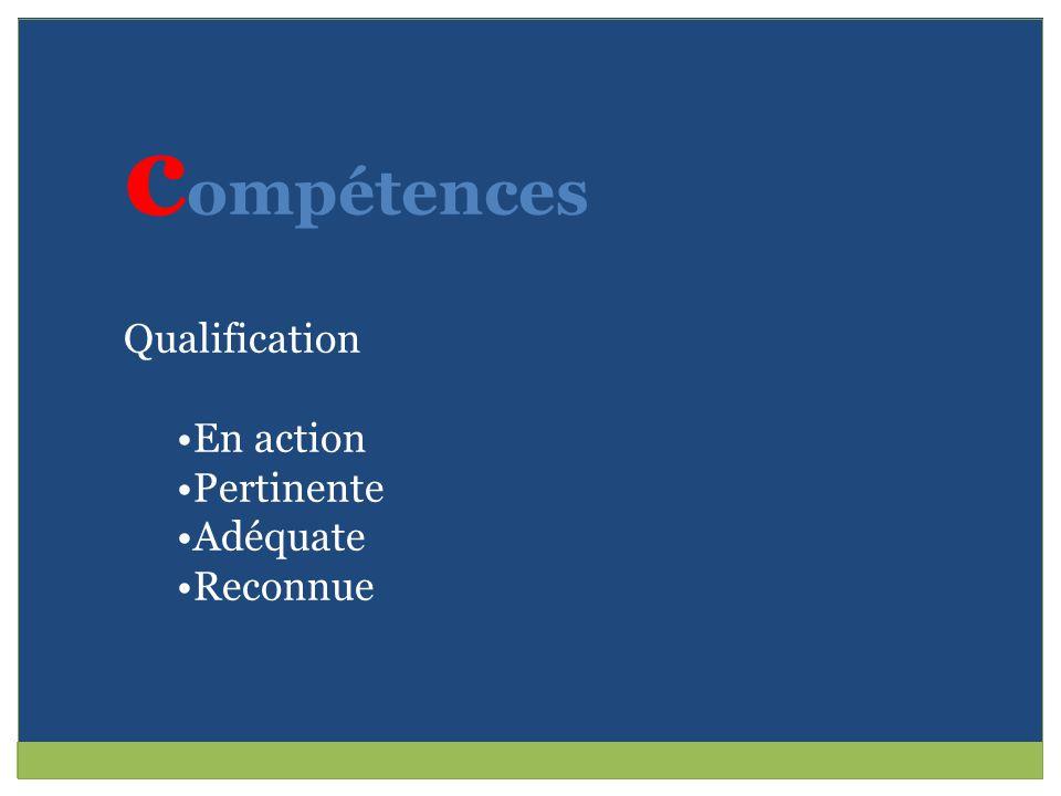c ompétences Qualification En action Pertinente Adéquate Reconnue