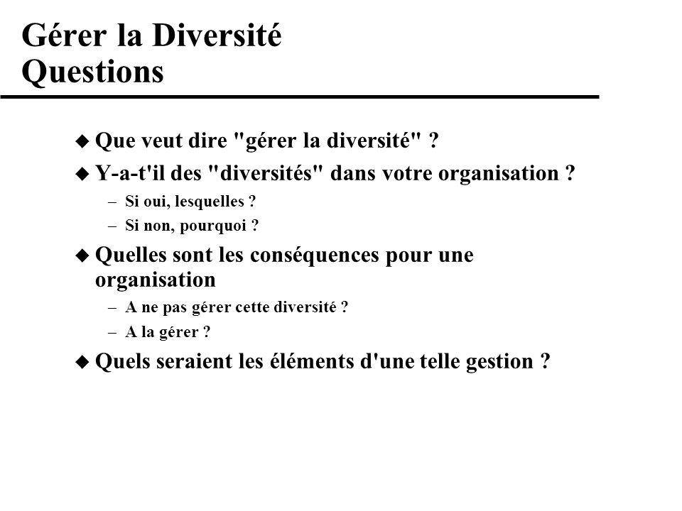 Gérer la Diversité Questions Que veut dire gérer la diversité .