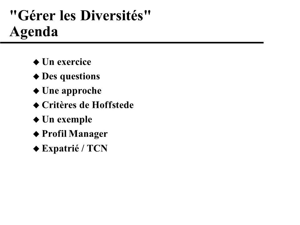 Gérer les Diversités Agenda Un exercice Des questions Une approche Critères de Hoffstede Un exemple Profil Manager Expatrié / TCN