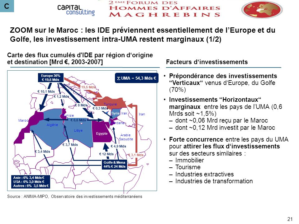 C Algérie Maroc Libye Egypte Tunisie Arabie Saoudite Syria Jordanie Turquiie Irak Iran 10,1 Mds Europe 36% 19,6 Mds 8 Mds 12 Mds 3,4 Mds 3,1 Mds Golfe