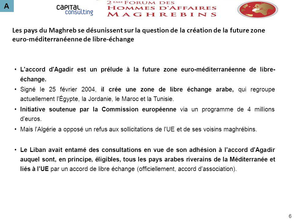 A Les pays du Maghreb se désunissent sur la question de la création de la future zone euro-méditerranéenne de libre-échange 6 L'accord d'Agadir est un