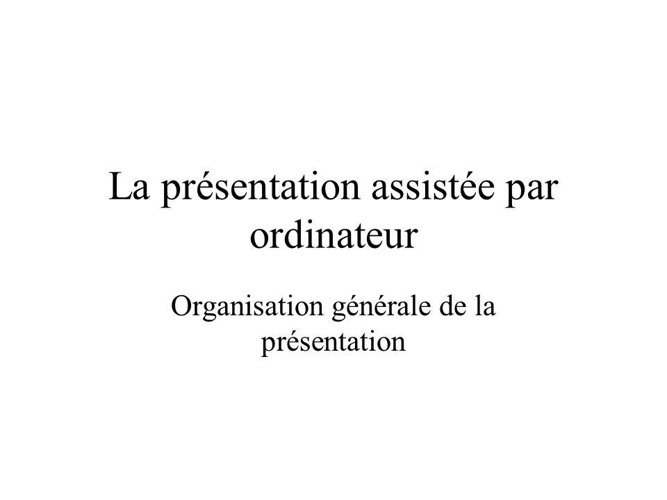 Organisation générale de la présentation La présentation assistée par ordinateur
