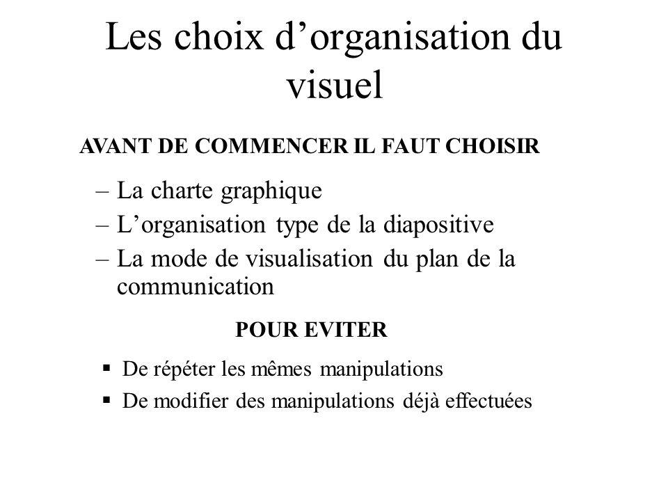 Les choix dorganisation du visuel –La charte graphique –Lorganisation type de la diapositive –La mode de visualisation du plan de la communication AVA