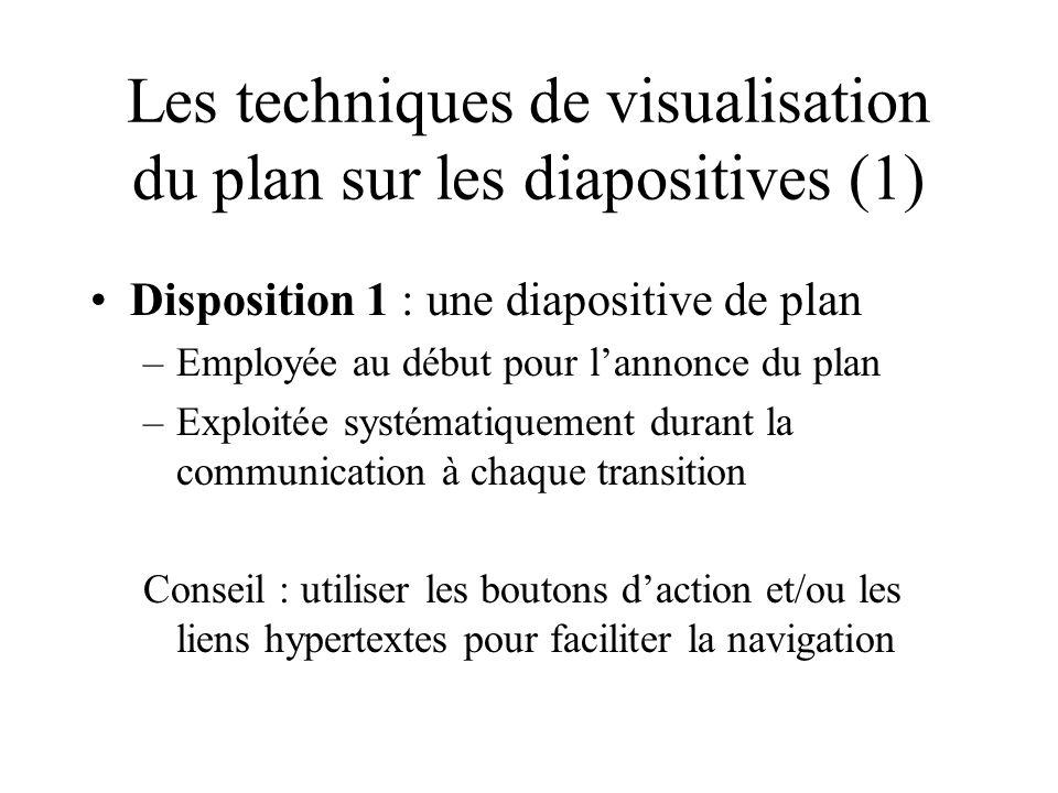 Disposition 2 : une zone de plan réservée sur la diapositive –Visible durant toute la communication –Le plan est « suivi » par un effet de police de caractère (gras, couleurs …) Conseil : Utiliser la présentation de type « frame » largement répandue sur le web en faisant figurer la plan à gauche Les techniques de visualisation du plan sur les diapositives (2)