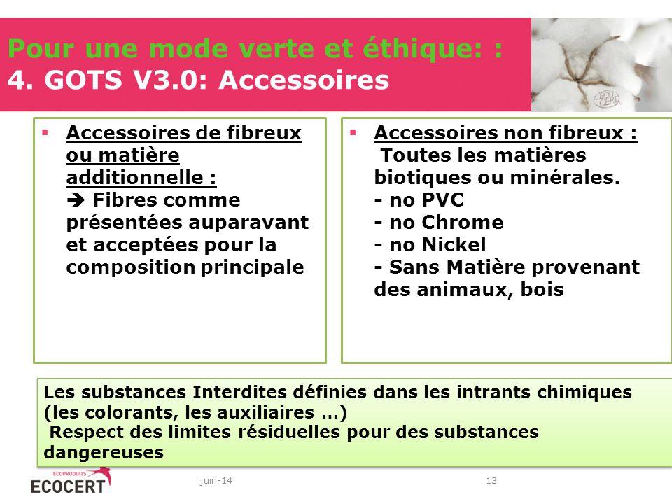 Pour une mode verte et éthique: : 4. GOTS V3.0: Accessoires Accessoires de fibreux ou matière additionnelle : Fibres comme présentées auparavant et ac