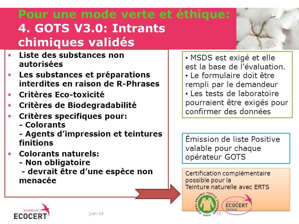 Pour une mode verte et éthique: 4. GOTS V3.0: Intrants chimiques validés Liste des substances non autorisées Les substances et préparations interdites