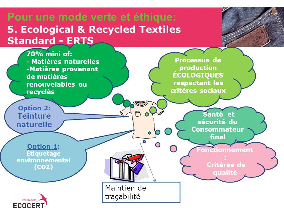 70% mini of: - Matières naturelles -Matières provenant de matières renouvelables ou recyclés Option 2: Teinture naturelle Processus de production ÉCOLOGIQUES respectant les critères sociaux Santé et sécurité du Consommateur final Fonctionnement : Critères de qualité Maintien de traçabilité Option 1: Étiquetage environnemental (CO2) Pour une mode verte et éthique: 5.