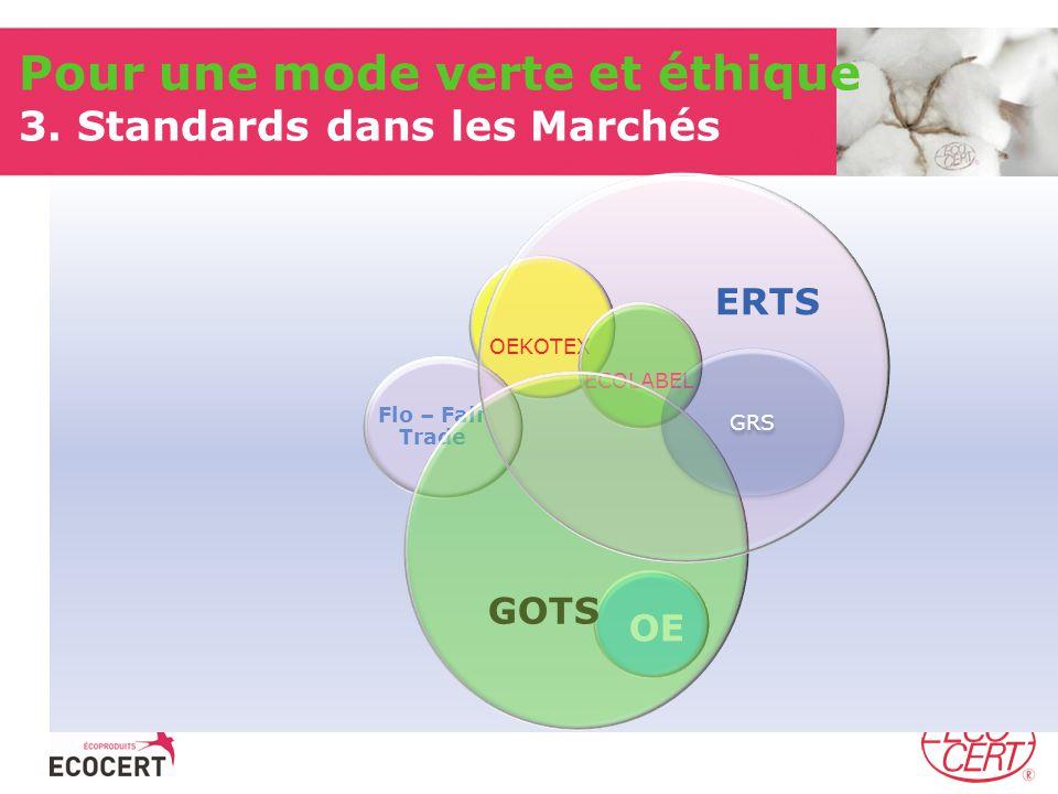 Pour une mode verte et éthique 3. Standards dans les Marchés OEKOTEX ECOLABEL OE Flo – Fair Trade GOTS ERTS GRS