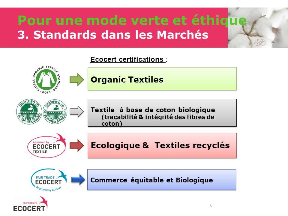 Pour une mode verte et éthique 3. Standards dans les Marchés Organic Textiles Ecologique & Textiles recyclés 6 Ecocert certifications : Textile à base