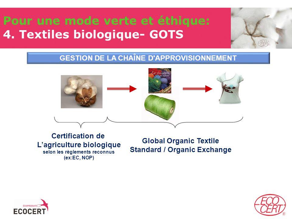 Certification de Lagriculture biologique selon les règlements reconnus (ex:EC, NOP) Global Organic Textile Standard / Organic Exchange GESTION DE LA CHAÎNE D APPROVISIONNEMENT Pour une mode verte et éthique: 4.