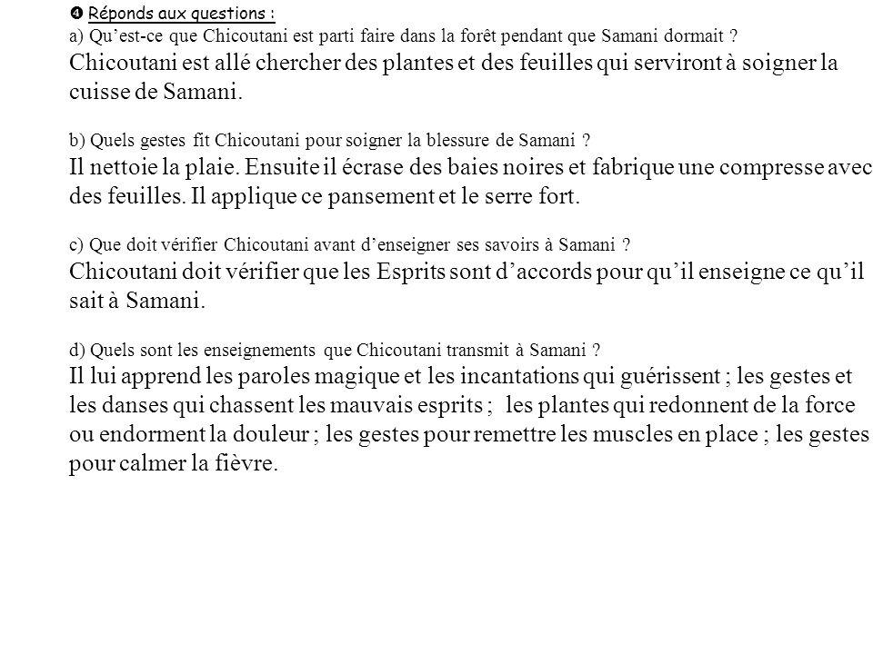 Réponds aux questions : a) Quest-ce que Chicoutani est parti faire dans la forêt pendant que Samani dormait ? Chicoutani est allé chercher des plantes