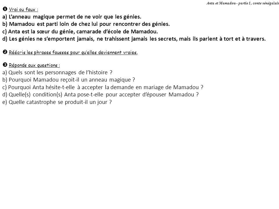 Anta et Mamadou - partie 1, conte sénégalais Vrai ou faux : a) Lanneau magique permet de ne voir que les génies. b) Mamadou est parti loin de chez lui