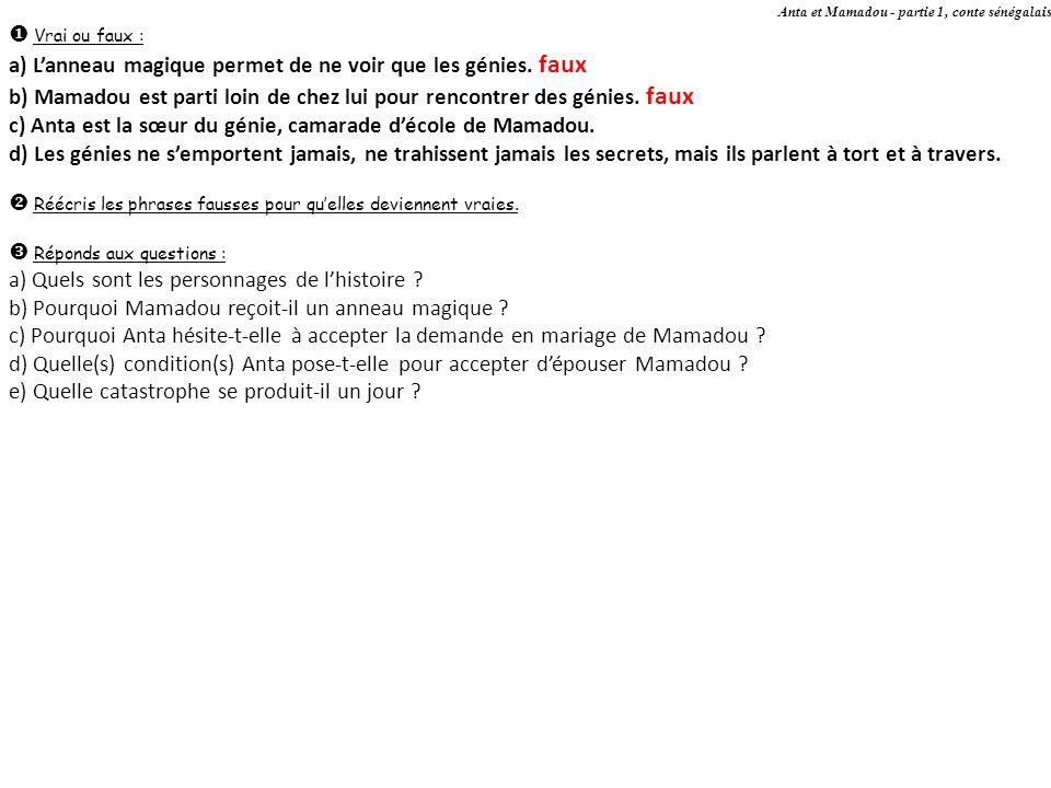 Anta et Mamadou - partie 1, conte sénégalais Réponds aux questions : a) Quels sont les personnages de lhistoire .