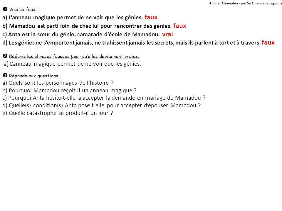 Anta et Mamadou - partie 1, conte sénégalais Vrai ou faux : a) Lanneau magique permet de ne voir que les génies. faux b) Mamadou est parti loin de che