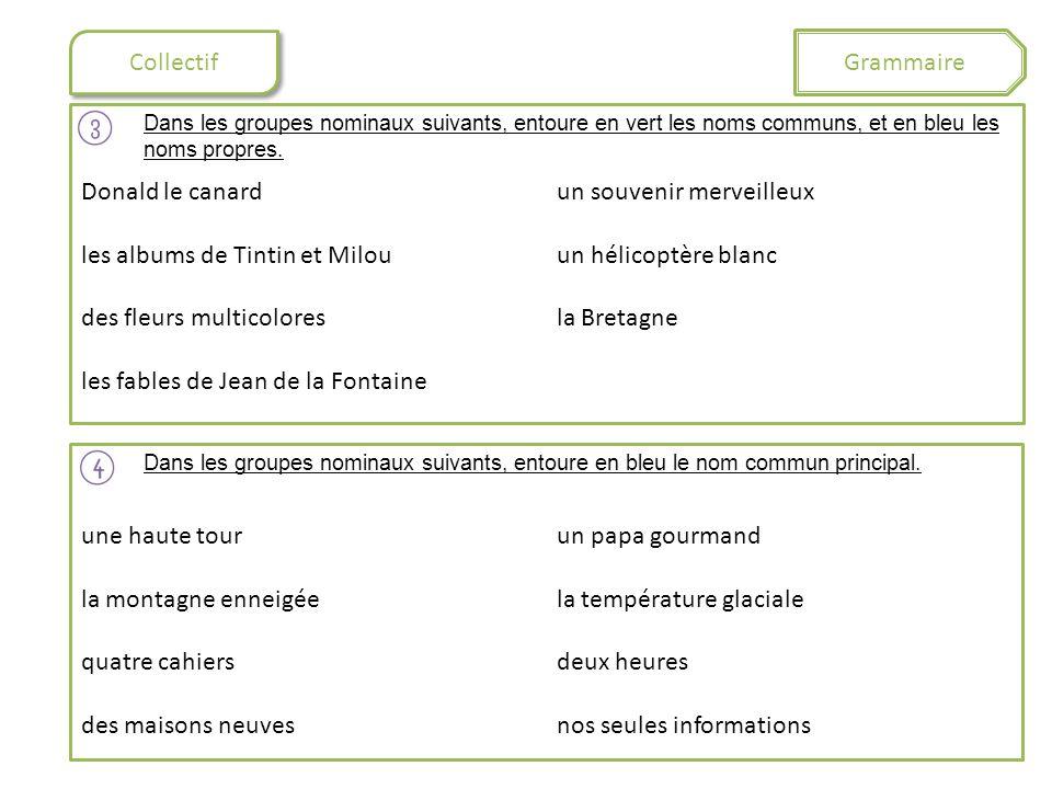 Collectif Grammaire Dans les groupes nominaux suivants, entoure en vert les noms communs, et en bleu les noms propres. Donald le canard les albums de