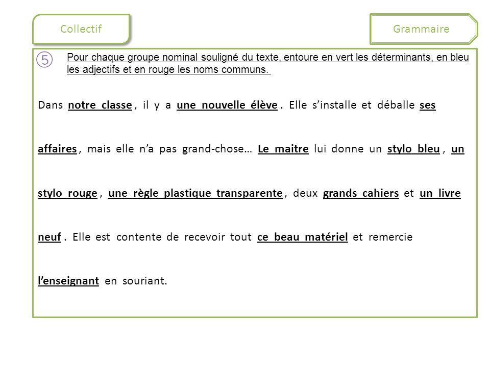Collectif Grammaire Pour chaque groupe nominal souligné du texte, entoure en vert les déterminants, en bleu les adjectifs et en rouge les noms communs