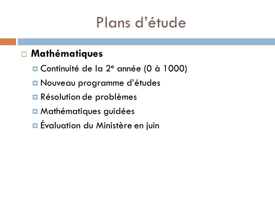 Plans détude Mathématiques Continuité de la 2 e année (0 à 1000) Nouveau programme détudes Résolution de problèmes Mathématiques guidées Évaluation du Ministère en juin