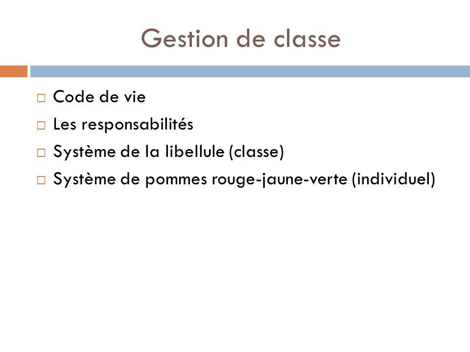 Gestion de classe Code de vie Les responsabilités Système de la libellule (classe) Système de pommes rouge-jaune-verte (individuel)