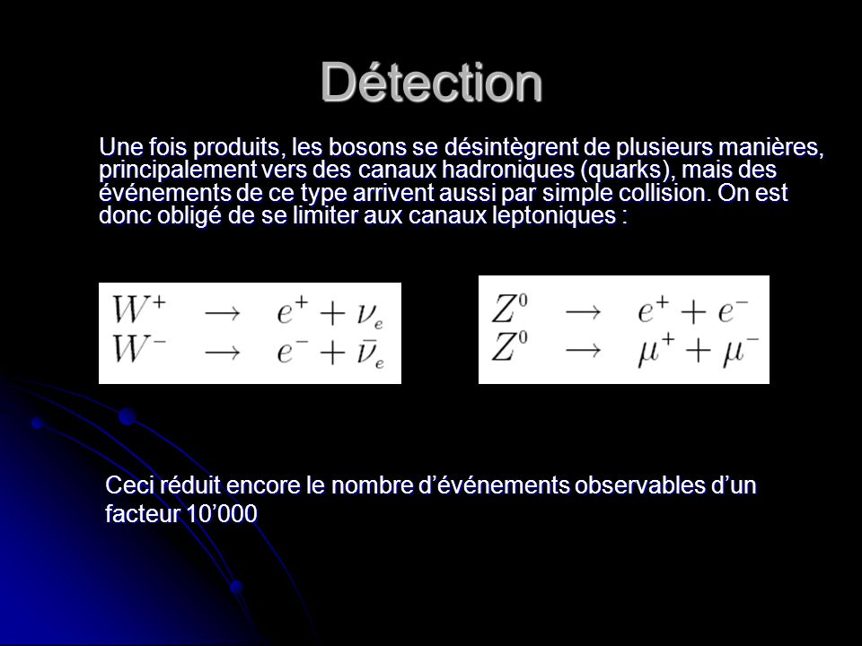 Détection Une fois produits, les bosons se désintègrent de plusieurs manières, principalement vers des canaux hadroniques (quarks), mais des événements de ce type arrivent aussi par simple collision.