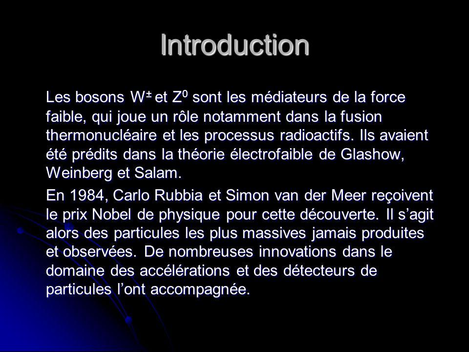 Introduction Les bosons W ± et Z 0 sont les médiateurs de la force faible, qui joue un rôle notamment dans la fusion thermonucléaire et les processus radioactifs.