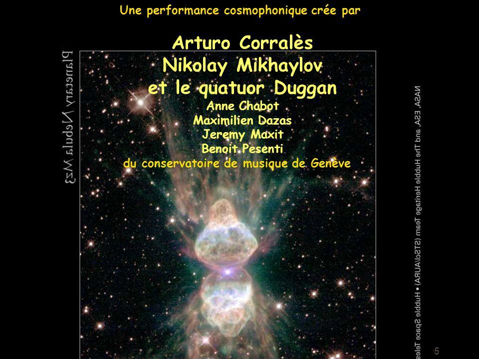 Intro-cosmique 18 Octobre 2005 Une performance cosmophonique crée par Arturo Corralès Nikolay Mikhaylov et le quatuor Duggan Anne Chabot Maximilien Da