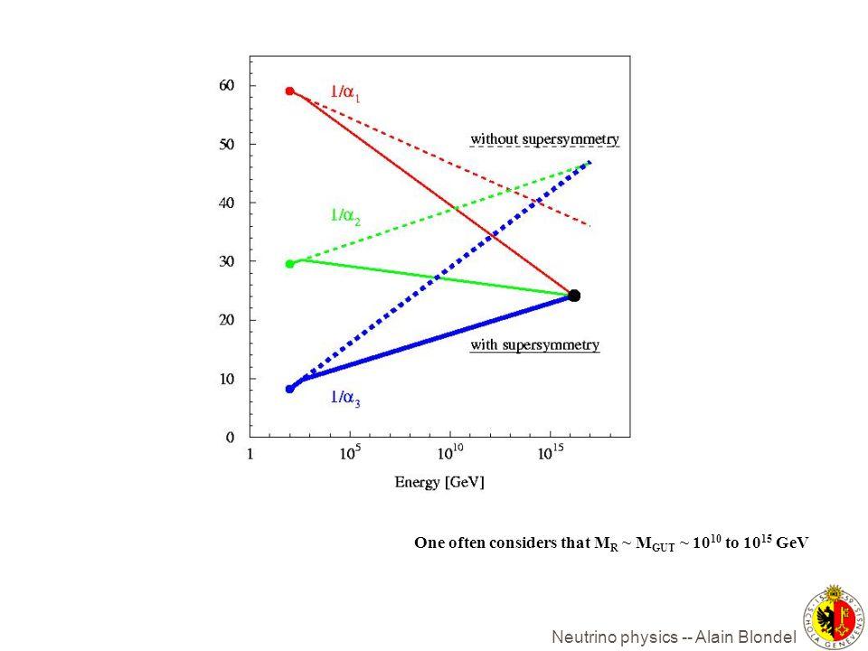 Neutrino physics -- Alain Blondel One often considers that M R ~ M GUT ~ 10 10 to 10 15 GeV