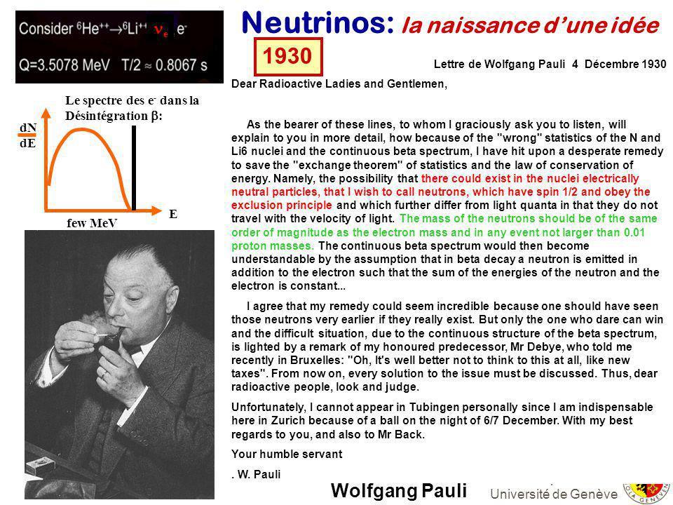 Alain Blondel Groupe Neutrino Université de Genève Lee and Yang Propriétés des Neutrinos 1960 En 1960, Lee et Yang realisent que la raison pour laquelle la réaction - e - nest jamais observée (limite actuelle 10 -11) cest quil y a deux types de neutrinos différents: et e