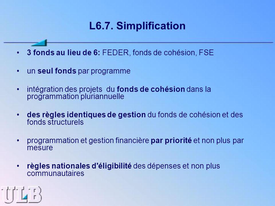 L6.7. Simplification 3 fonds au lieu de 6: FEDER, fonds de cohésion, FSE un seul fonds par programme intégration des projets du fonds de cohésion dans