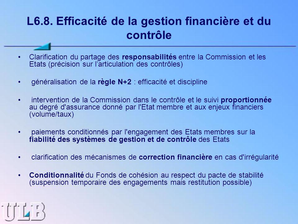 L6.8. Efficacité de la gestion financière et du contrôle Clarification du partage des responsabilités entre la Commission et les Etats (précision sur
