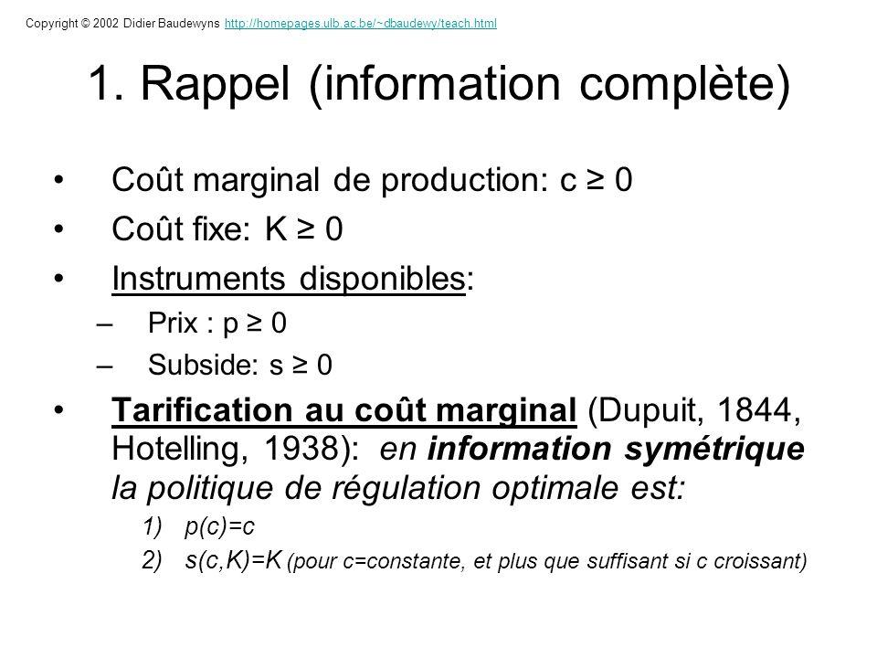 1. Rappel (information complète) Coût marginal de production: c 0 Coût fixe: K 0 Instruments disponibles: –Prix : p 0 –Subside: s 0 Tarification au co