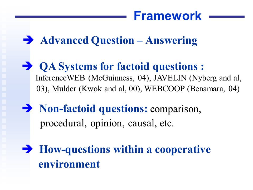 Advanced Question – Answering Framework QA Systems for factoid questions : InferenceWEB (McGuinness, 04), JAVELIN (Nyberg and al, 03), Mulder (Kwok an