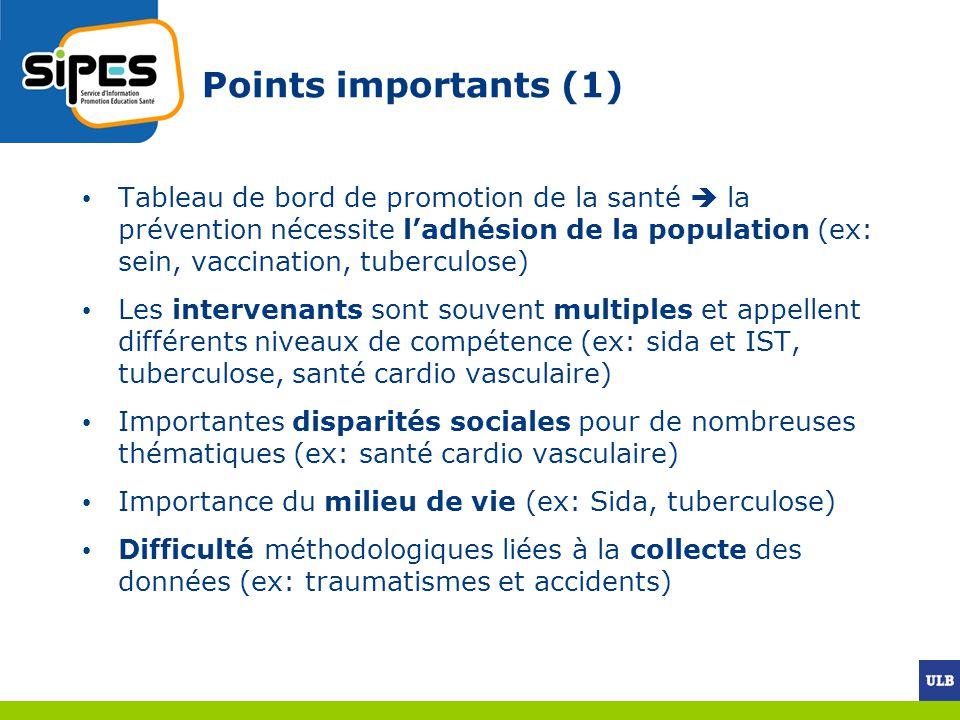 Points importants (1) Tableau de bord de promotion de la santé la prévention nécessite ladhésion de la population (ex: sein, vaccination, tuberculose)