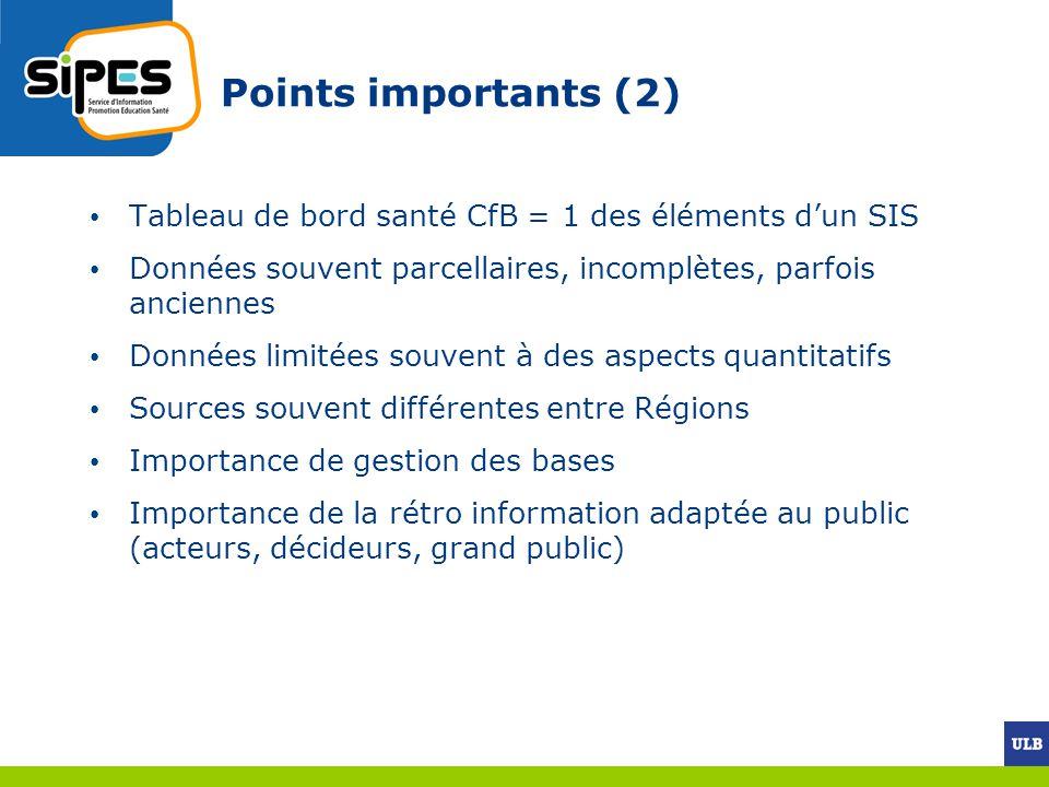 Points importants (2) Tableau de bord santé CfB = 1 des éléments dun SIS Données souvent parcellaires, incomplètes, parfois anciennes Données limitées