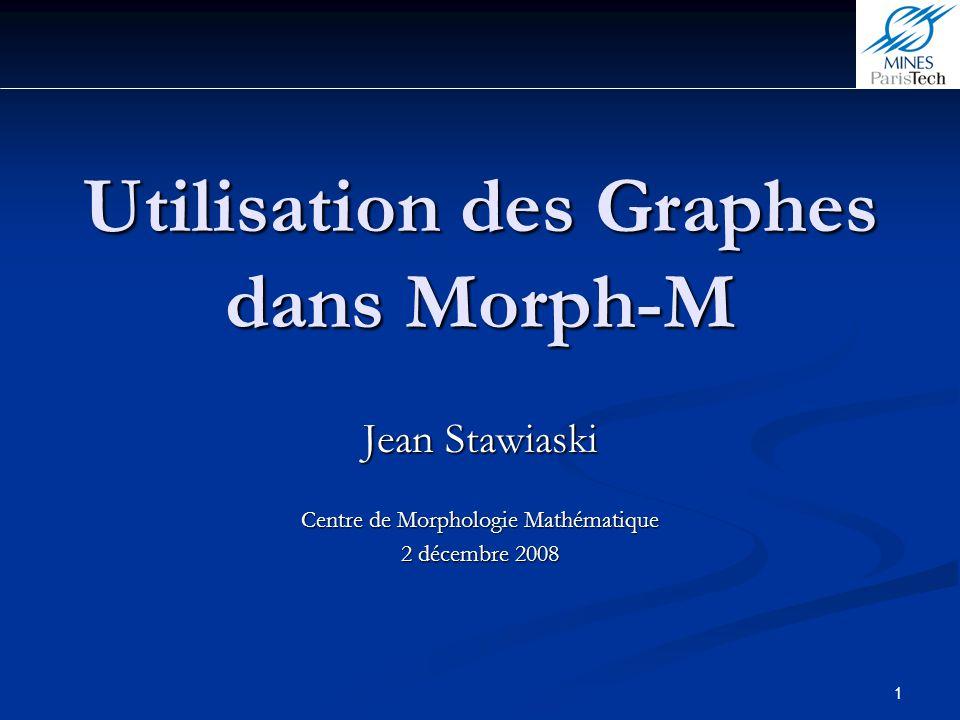 2 Introduction Morph-M (CommonGraph32) et (BoostGraph) 1)Passage Graphe-Image et Image-Graphe 1.1 Graphe dune image 1.1 Graphe dune image 1.2 Graphe dune partition 2)Utilisation des Graphes (CommonGraph32) en Python 2.1 Fonctions de base 2.2 Exemples, opérations de base de morphologie mathématique 3)Utilisation des Graphes en C++ 3.1 Création dun graphe en C++ 3.2 Fonction de base 3.3 Algorithmes 3.4 Exemples 4)Pour aller un peu plus loin Conclusion Sommaire