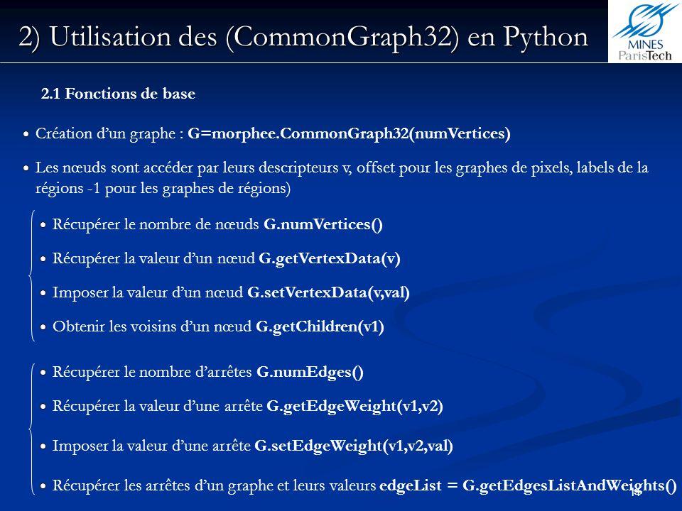 11 2) Utilisation des (CommonGraph32) en Python 2.1 Fonctions de base Récupérer la valeur dun nœud G.getVertexData(v) Les nœuds sont accéder par leurs