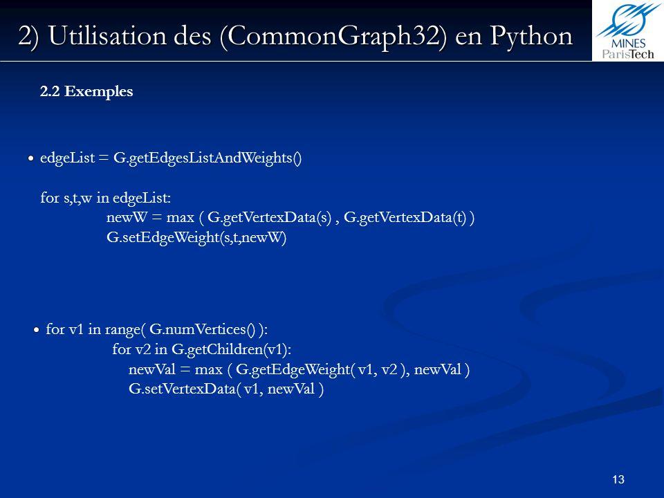 13 2) Utilisation des (CommonGraph32) en Python edgeList = G.getEdgesListAndWeights() for s,t,w in edgeList: newW = max ( G.getVertexData(s), G.getVer