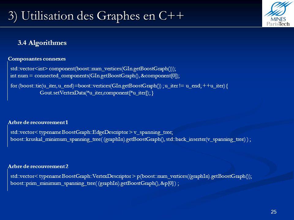 25 3) Utilisation des Graphes en C++ 3.4 Algorithmes Composantes connexes std::vector component(boost::num_vertices(GIn.getBoostGraph())); int num = c
