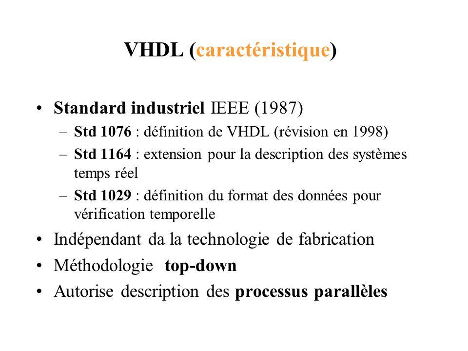 VHDL (caractéristique) Standard industriel IEEE (1987) –Std 1076 : définition de VHDL (révision en 1998) –Std 1164 : extension pour la description des
